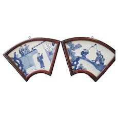 Kangxi Blue and White Fan Shaped Plaque Pair