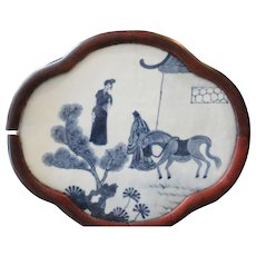 Chinese Kangxi Period Blue and White Quadrifoil Shaped Plaque