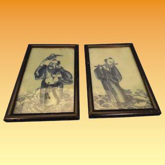 19th Century Guangxu B&W Plaques Han Xiang Zi & Zhongli Quan