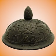 """Chinese Baluster Jar """"General's Hat"""" Hardwood Lid Cover Peony Scroll"""