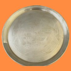 Vintage Chinese Etched Brass Tray