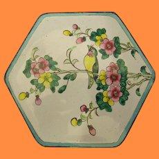 Vintage Chinese Canton Enamel Box Birds & Flowers