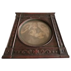 Arts and Crafts Frame with Hand Engraved Print of Madonna and Child.