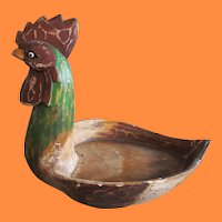 Vintage Americana Folk Art Polychrome Rooster Wood Carving