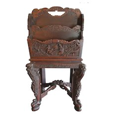 Antique Chinese Hand Carved Zitan Wood Book Newspaper Holder Rare and Intricately Detailed