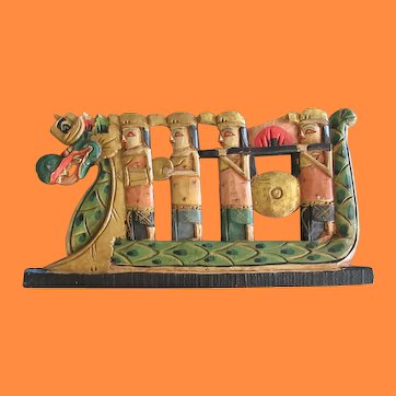 Vintage Southeast Asian Folk Art Polychrome Wood Crest Panel