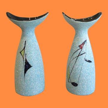 Vintage Mid Century Modern Geometric Italian Abstract Textured Vase Pair