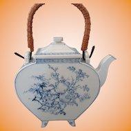 Antique Blue & White Japanese Hirado Slab Sculpted Spade Shaped Teapot