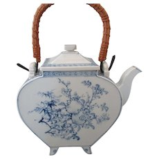 Antique Blue & White Japanese Hirado Slab Sculpted Spade Shaped Teapot