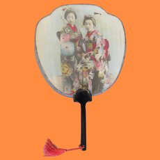 Antique Meiji Hand Tinted Photographic Image Hand Fan of Japanese Girls