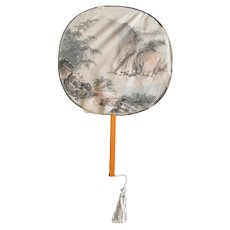 Early 20th Century Chinese Watercolor on Silk Hand Fan