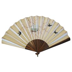 Beautiful Antique Meiji Period Hand Painted Japanese Silk Fan