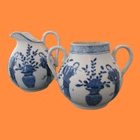 Chinese Blue & White Qing Dynasty Creamer & Sugar - Kangxi Long Eliza Motif