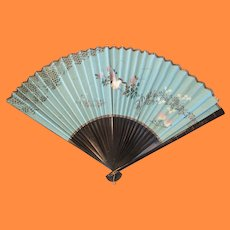 Antique Japanese Paper Fan with Maki E Frame