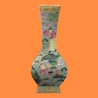 Chinese Qing Dynasty Raised Enamel Famille Verte Wucai Vase