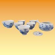Japanese Blue and White Sencha Set - Aritaware Meiji Period