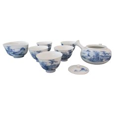 Japanese Blue and White Sencha Set - Aritaware Meiji Period