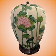 Japanese Polychrome Lotus Ginger Jar