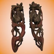 Antique Chinese Carved Wood Phoenix Buddhist Temple Corbels