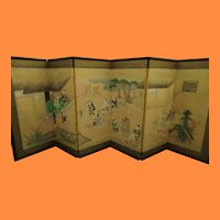 Antique Japanese Folk Art Panel Screen Painting of Village Harvest 19th Century