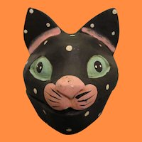 Old Folk Art Polka Dot Cat Head- 19th to early 20th Century