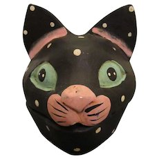 Old Folk Art Polka Dot Cat Head- 19th to early 20th Century