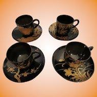 Vintage Japanese Urushi Cups & Saucers  Set / 4