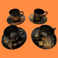 Vintage Japanese Maki E Lacquer Cup and Saucers
