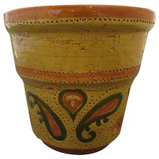 Rosenthal Netter Aldo Londi Yellow Incised Paisley Planter