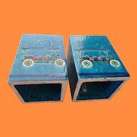 Rare Mid Century Aldo Londi Rimini Blue Automobile Bookends  Rosenthal Netter