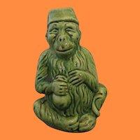 Rare Antique Green Glazed Yellow Ware Monkey Figure Penny Bank