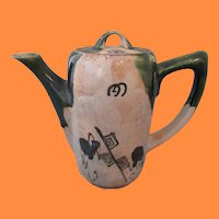 Antique Japanese Studio Oribe Teapot with Classical Detail