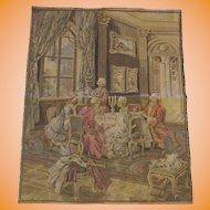 Vintage Belgium Tapestry Tea Time