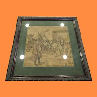 Vintage Framed Tapesty of Footman Announcing Carriage