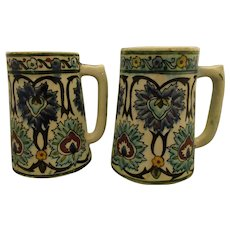 Antique Middle Eastern Iznik Type Pottery Faience Tankard Mug Pair