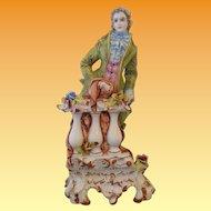 Large Capodimonte Romantic Youth Figure Sculpture Lamp