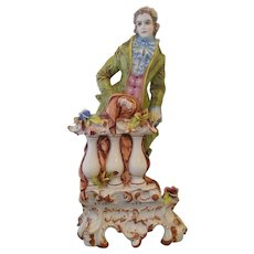 Large Capodimonte Romantic Youth Figure Sculpture Lamp
