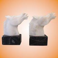 Vintage Mid Century German Bauhaus Marble Alabaster Horse Head Bookends
