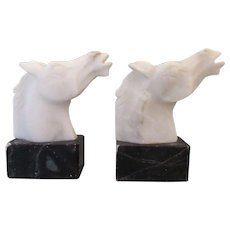 Vintage Mid Century German Bauhaus Marble Alabaster Horse Head Bookends
