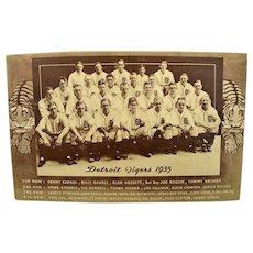 1935 Detroit Tigers World Series Champions Baseball Postcard Greenberg Unused