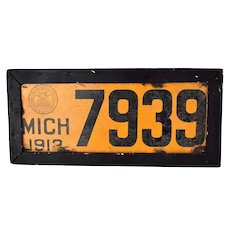 Rare Antique 1912 Michigan Porcelain License Plate 7939