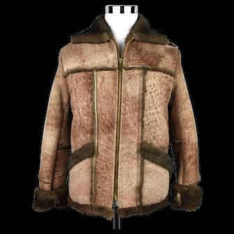 Webers Deerskin Shearling Sheepskin Leather Jacket Size 36