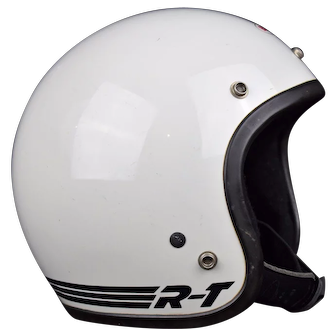 1981 Bell R-T White Motorcycle Racing Helmet