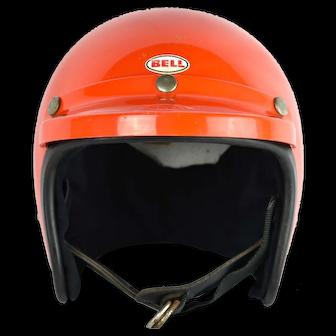 1970's Bell R-T Orange Motorcycle Racing Helmet