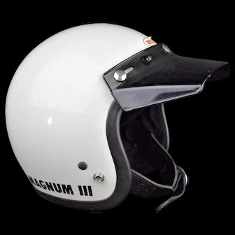 Original 1975 Bell Magnum 3 White Motorcycle Racing Helmet