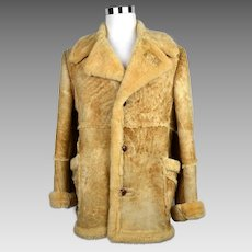 Men's Sears Shearling Sheepskin Leather Coat Western Marlboro Size 42 Tall