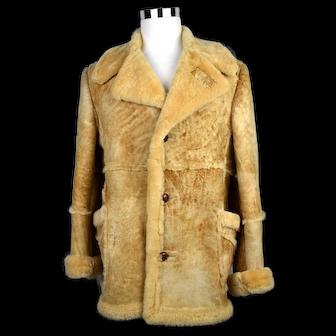 Men's Sears Shearling Sheepskin Leather Coat Western Marlboro Size 42 Tall