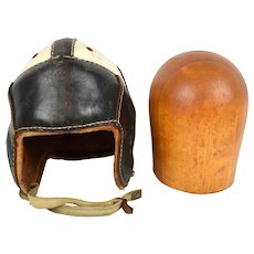 1940s Harry Gilmer Dubow Leather Football Helmet w/ Wooden Hat Block
