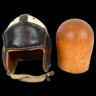 1940s Harry Gilmer Dubow Leather Football Helmet w/ Wooden Hat Block