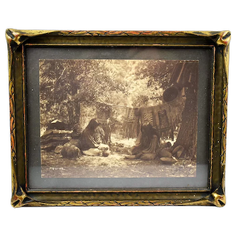 """Edward S. Curtis Signed and Stamped Platinum Print Photo """"PREPARING FOR WINTER"""" 1906"""